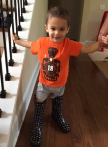 Hayden in mommy boots